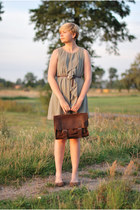 brown vintage bag - olive green H&M dress