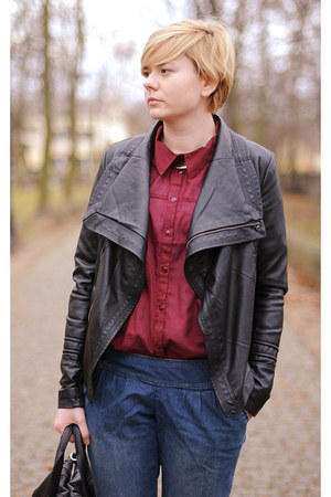 black allegro jacket - maroon New Yorker shirt