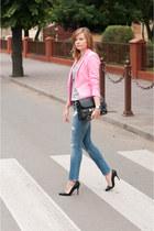 bubble gum Zara blazer - blue pull&bear jeans - black Buffalo heels