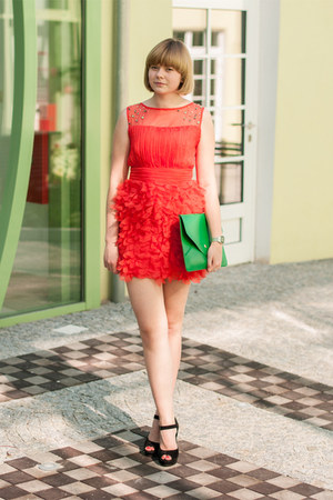 red Sheinside dress - green OASAP bag - black sholove sandals