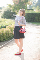 red OASAP bag - red sholove flats - black H&M skirt