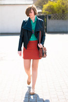 carrot orange Zara skirt - turquoise blue Bershka shirt - bronze New Yorker bag
