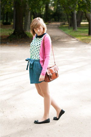 blue pull&amp;bear skirt - tawny New Yorker bag - bubble gum Stradivarius cardigan