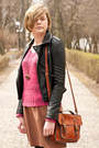Burnt-orange-h-m-skirt-black-sheinside-jacket-hot-pink-h-m-jumper