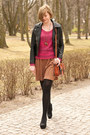 Black-sheinside-jacket-burnt-orange-h-m-skirt-hot-pink-h-m-jumper