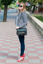 navy pull&bear jeans - navy H&M jacket - red Zara heels
