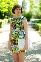 chartreuse AX Paris dress - ivory Zara bag
