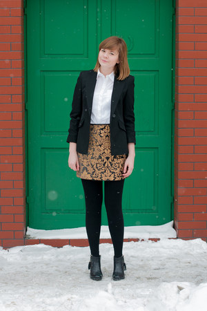 black Zara skirt - black marks&spancer blazer - white H&M shirt