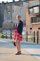 hot pink H&M dress - navy new look blazer
