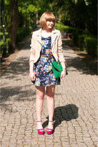 turquoise blue OASAP bag - navy Motel Rocks dress - peach H&M jacket