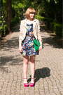 Navy-motel-rocks-dress-peach-h-m-jacket-turquoise-blue-oasap-bag