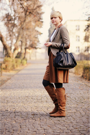 camel H&M jacket - black Mizensa bag - bronze H&M skirt