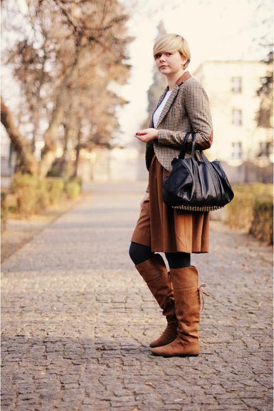 camel H&M jacket - black Mizensa bag - bronze H&M skirt