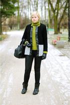 black Ebay jacket - chartreuse Zara jumper - black H&M pants