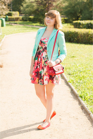 aquamarine Bershka blazer - red Romwecom dress - ruby red OASAP bag