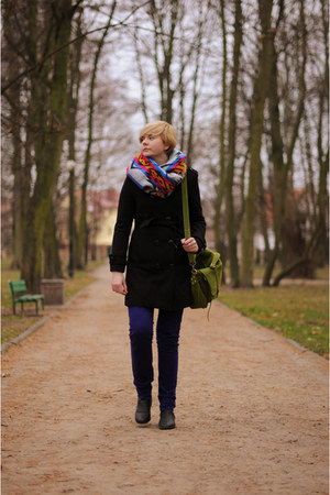 navy asos scarf - black Atmosphere coat - olive green Mizensa bag