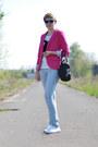 Sky-blue-h-m-jeans-hot-pink-no-name-blazer-black-etorebka-bag