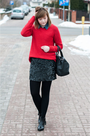 red pull&amp;bear jumper - blue H&amp;M shirt - black Zara skirt