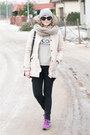Beige-bershka-coat-black-h-m-jeans-heather-gray-mango-blouse