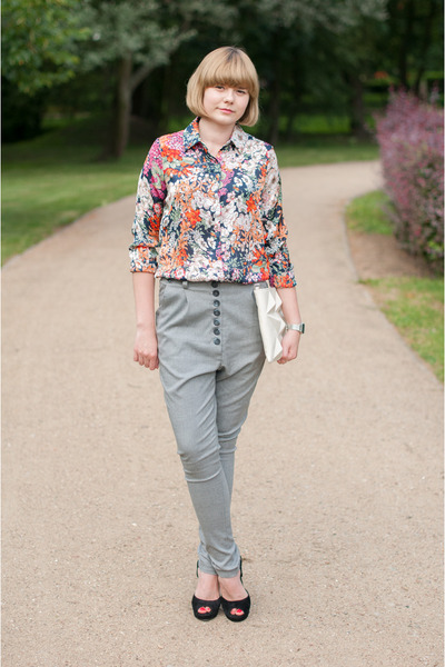 silver My Concept Store pants - blue Sheinside shirt - black sholove sandals