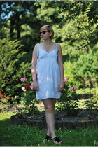 white P&B dress - black H&M sandals