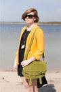 Black-oasap-dress-lime-green-mizensa-bag-yellow-sh-jumper
