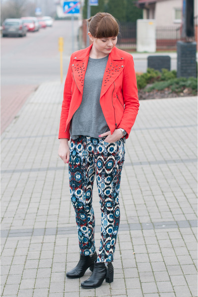 red Zara jacket - black blink boots - blue Zara pants - silver H&M jumper