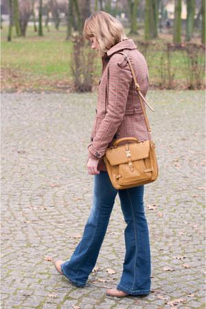 mustard Zara coat - blue pull&bear jeans - tan Misha Barton bag