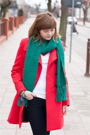 red Zara coat - green H&amp;M scarf - navy Zara pants