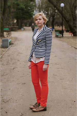 navy H&M blazer - carrot orange H&M pants