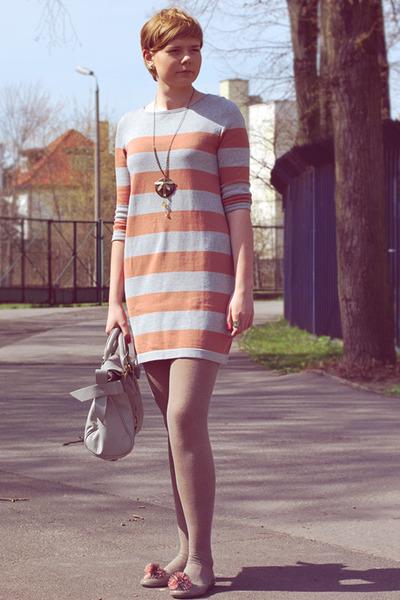 light orange H&M dress - silver etorebka bag - heather gray Shoes flats