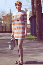 light orange H&M dress - silver etorebka bag - heather gray Shoes flats