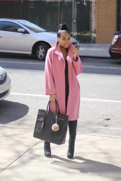 pink wool coat Marks and Spencer coat - oversized bag River Island bag