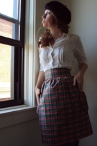 vintage from thrift store hat - American Eagle blouse - fancy clothing skirt