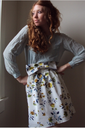 blue thrifted blouse - white fancy clothing skirt