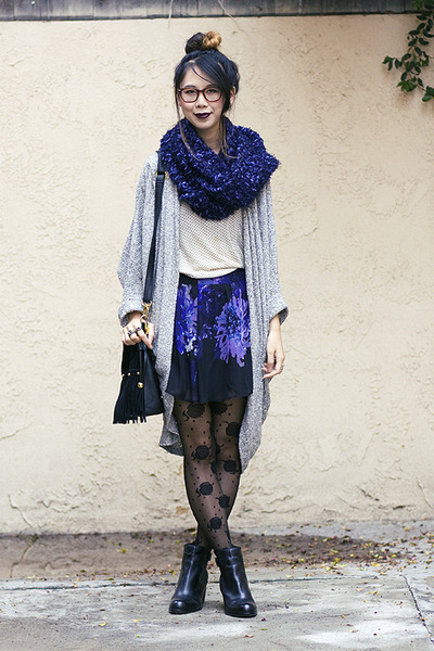 American Apparel cardigan - Dolce Vita boots - asos scarf - unknown bag