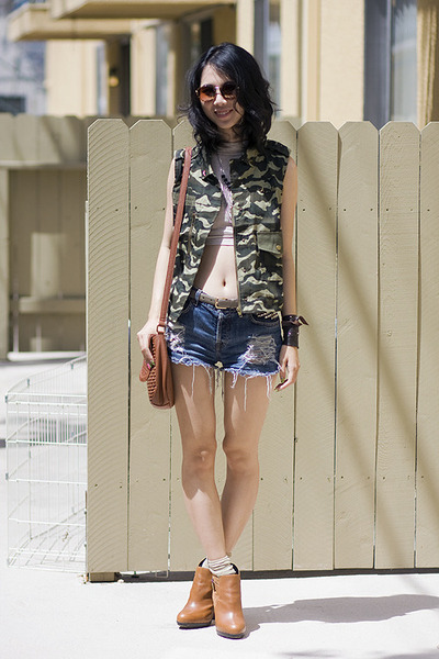 camo vest - sam edelman boots - DIY shorts - American Apparel top