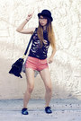 Black-topshop-t-shirt-black-diy-shoes-coral-american-apparel-shorts