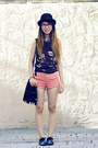 Black-diy-shoes-coral-american-apparel-shorts-heather-gray-zara-top