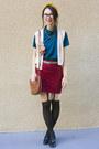 Beige-american-apparel-vest-teal-american-apparel-blouse