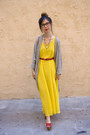 Yellow-american-apparel-dress-ruby-red-american-apparel-belt