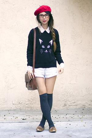 asos jumper - American Apparel hat - American Apparel shorts - asos flats