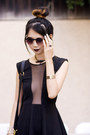 Black-topshop-dress-magenta-choies-tights-black-unknown-brand-bag