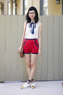 Red-asos-shorts-white-le-bunny-bleu-shoes-white-american-apparel-blouse