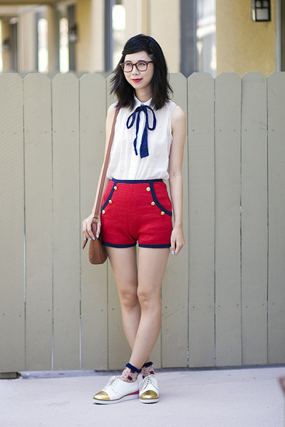 red asos shorts - white le bunny bleu shoes - white American Apparel blouse