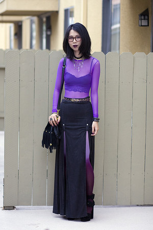 black unknown bag - black Shown To Scale skirt - purple American Apparel top