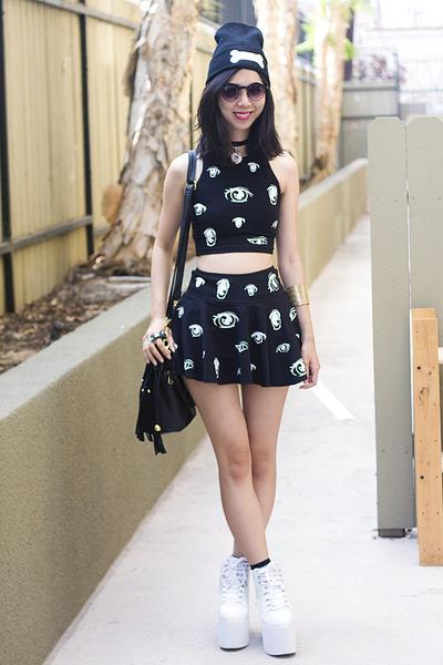 black Glitter Bandits skirt - black Glitter Bandits hat