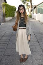 dark brown American Apparel shoes - heather gray American Apparel sweater