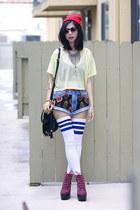 blue American Apparel socks - black spinns shorts - yellow American Apparel top