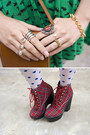 Red-jeffrey-campbell-wedges-green-h-m-dress-navy-urban-outfitters-jacket